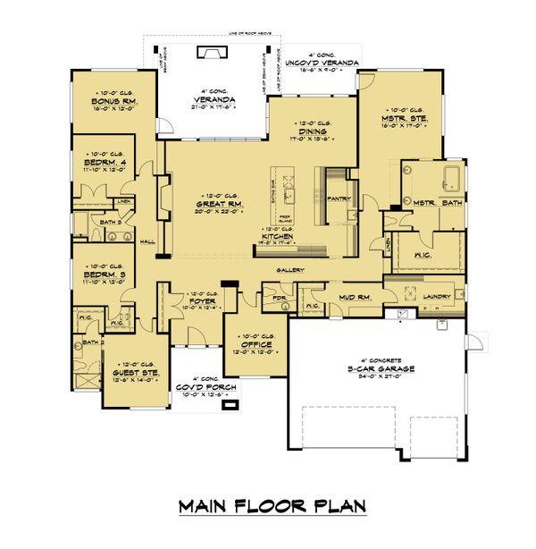Dream House Plan - Contemporary Floor Plan - Main Floor Plan #1066-115