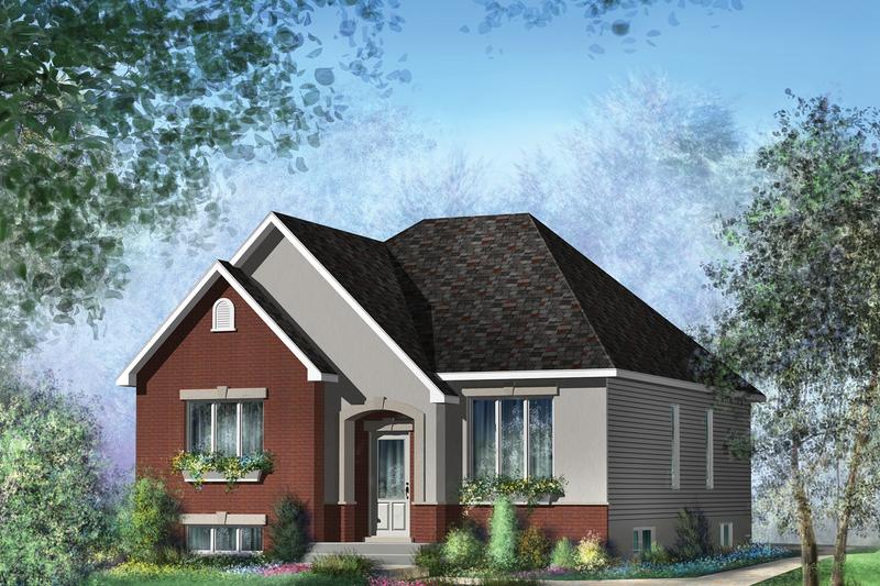 European Style House Plan - 3 Beds 1 Baths 1257 Sq/Ft Plan #25-4650