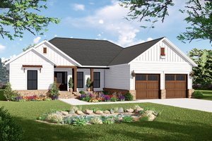 Architectural House Design - Country Exterior - Front Elevation Plan #21-454