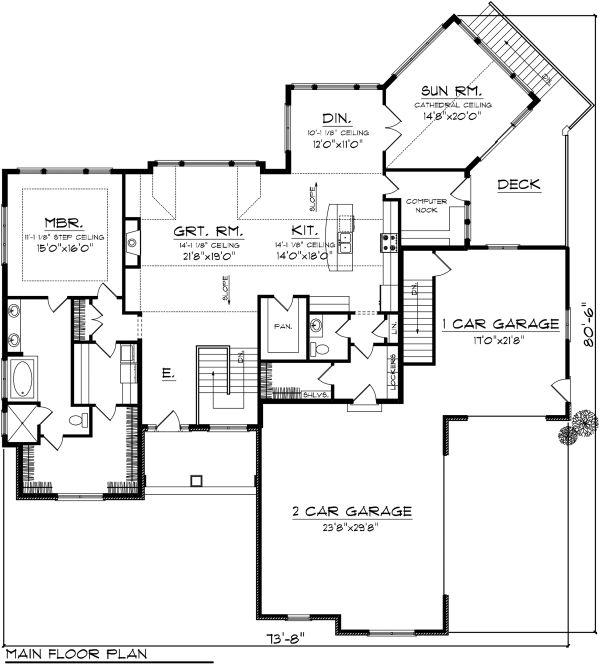 Ranch Floor Plan - Main Floor Plan Plan #70-1149