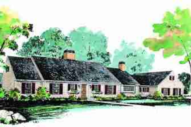 Traditional Style House Plan - 3 Beds 5 Baths 3046 Sq/Ft Plan #72-300 Exterior - Front Elevation