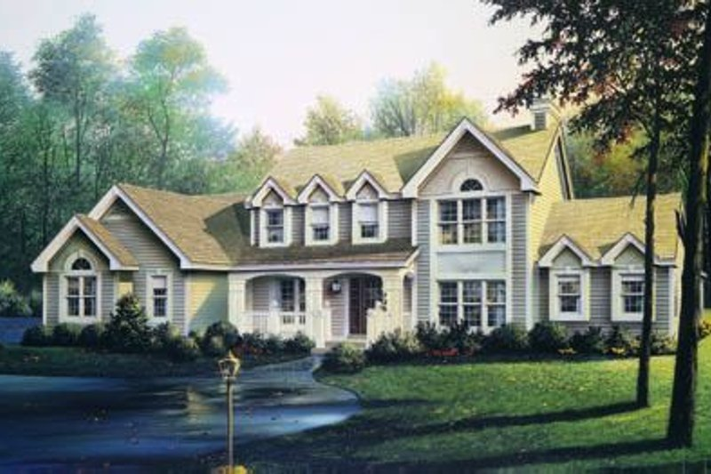 Traditional Style House Plan - 4 Beds 3.5 Baths 2900 Sq/Ft Plan #57-187 Exterior - Front Elevation