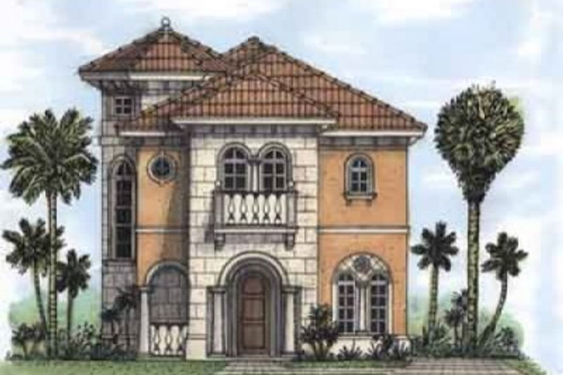 Mediterranean Style House Plan - 3 Beds 3.5 Baths 1949 Sq/Ft Plan #115-145 Exterior - Front Elevation