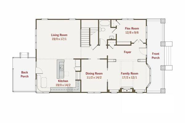 Craftsman Style House Plan - 4 Beds 3 Baths 2960 Sq/Ft Plan #461-11 Floor Plan - Main Floor Plan