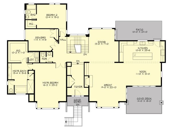 Contemporary Floor Plan - Main Floor Plan Plan #132-226