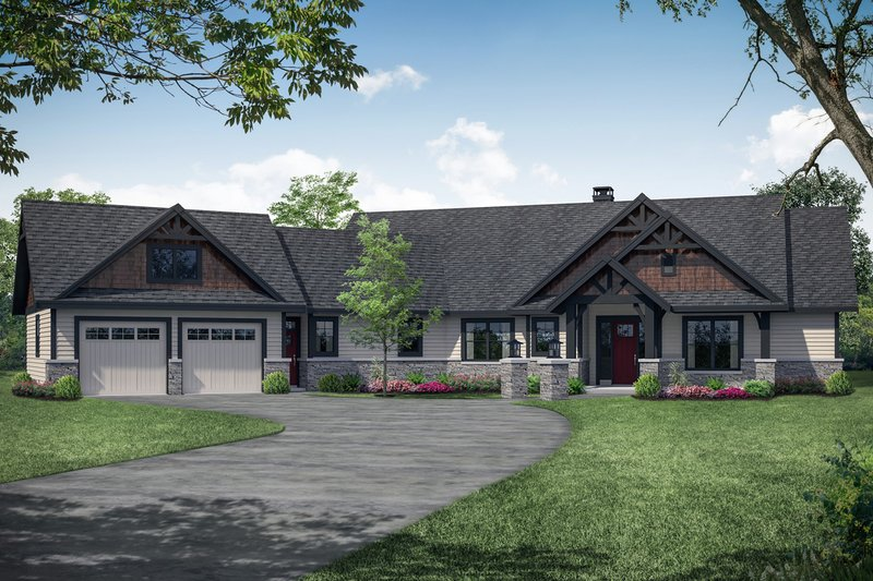 Craftsman Exterior - Front Elevation Plan #124-1113
