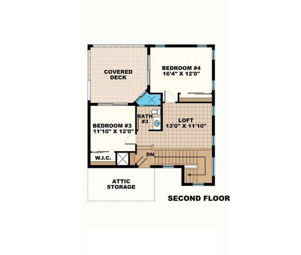 Mediterranean Floor Plan - Upper Floor Plan Plan #27-552