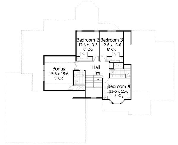 Craftsman Style House Plan - 4 Beds 3.5 Baths 4427 Sq/Ft Plan #51-556 Floor Plan - Upper Floor Plan