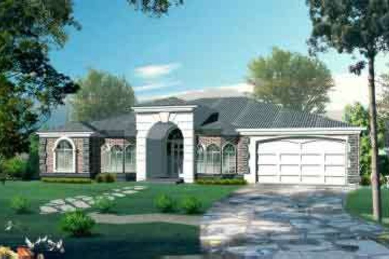 Adobe / Southwestern Style House Plan - 4 Beds 3 Baths 2735 Sq/Ft Plan #1-1089 Exterior - Front Elevation