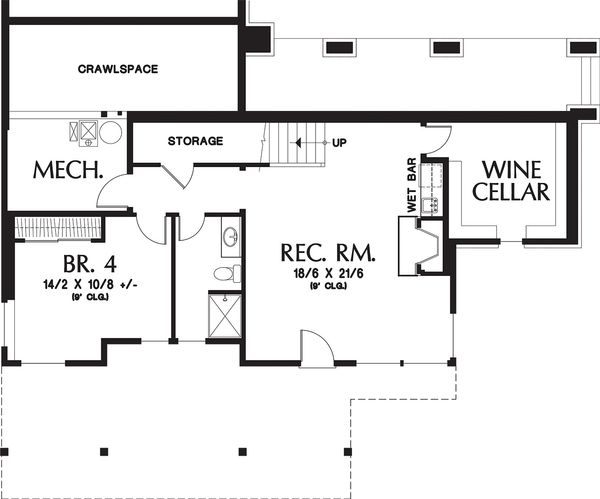 Lower floor plan - 3150 square foot craftsman home