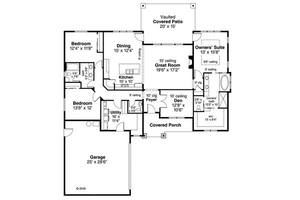 Ranch Floor Plan - Main Floor Plan Plan #124-1146