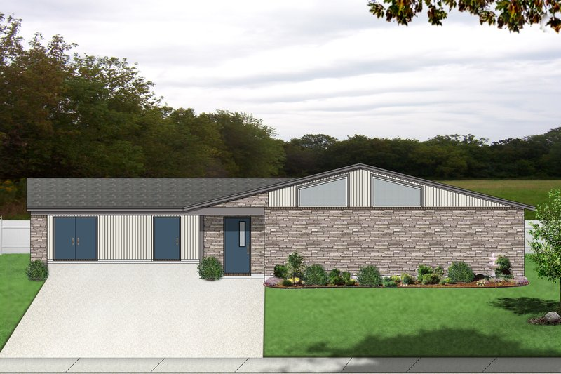 Contemporary Style House Plan - 3 Beds 2 Baths 1446 Sq/Ft Plan #84-514 Exterior - Front Elevation