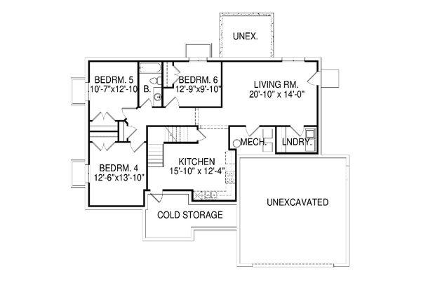 Traditional Floor Plan - Lower Floor Plan Plan #920-11