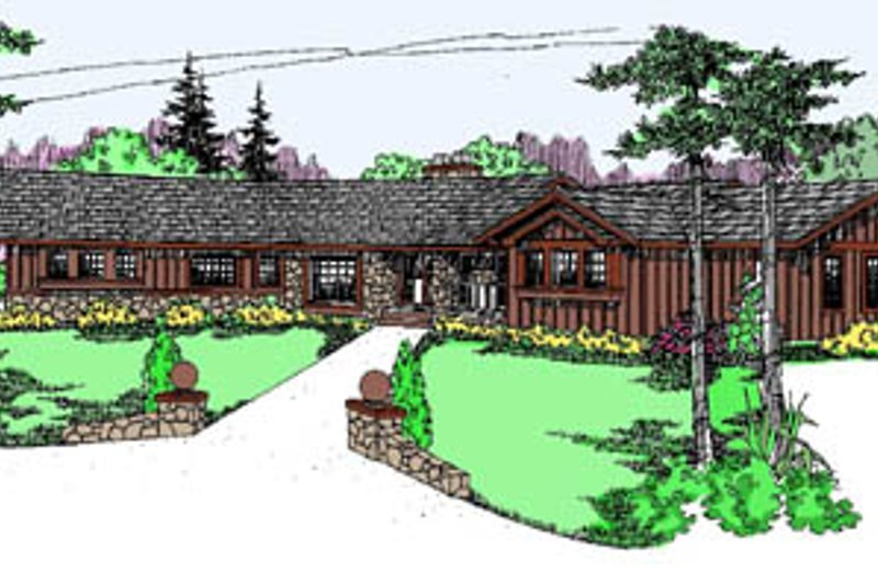 Ranch Style House Plan - 4 Beds 3 Baths 3417 Sq/Ft Plan #60-127 Exterior - Front Elevation