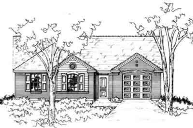 Ranch Style House Plan - 3 Beds 2 Baths 1353 Sq/Ft Plan #141-173 Exterior - Front Elevation