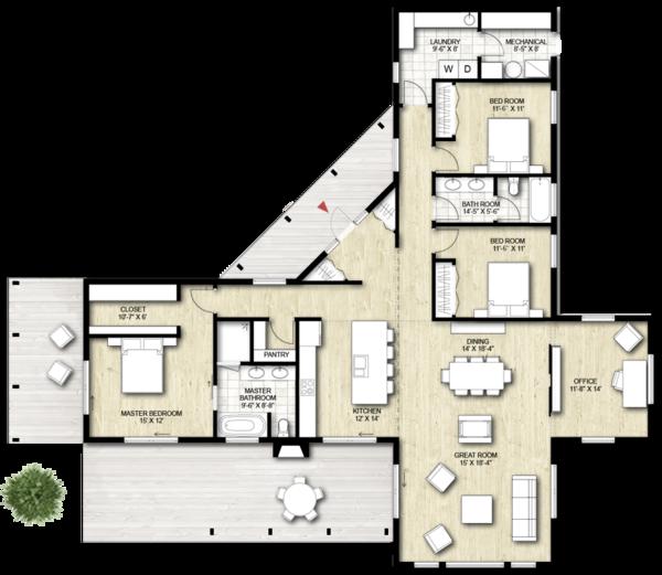 Contemporary Floor Plan - Main Floor Plan Plan #924-1
