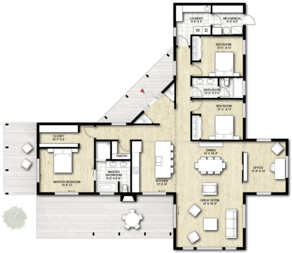 Contemporary Floor Plan - Main Floor Plan Plan #924-1