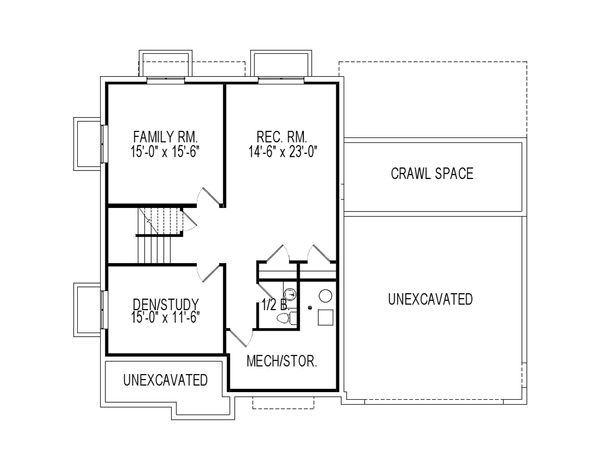 Craftsman Floor Plan - Lower Floor Plan Plan #920-75