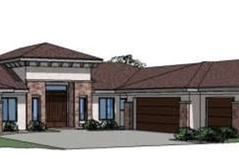 Mediterranean Style House Plan - 5 Beds 2.5 Baths 2745 Sq/Ft Plan #24-262 Exterior - Front Elevation