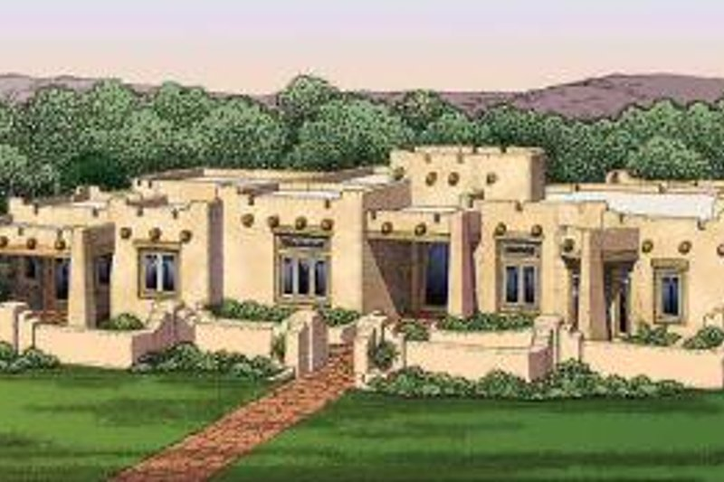 House Blueprint - Adobe / Southwestern Exterior - Other Elevation Plan #72-482