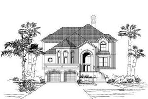 Mediterranean Exterior - Front Elevation Plan #411-158