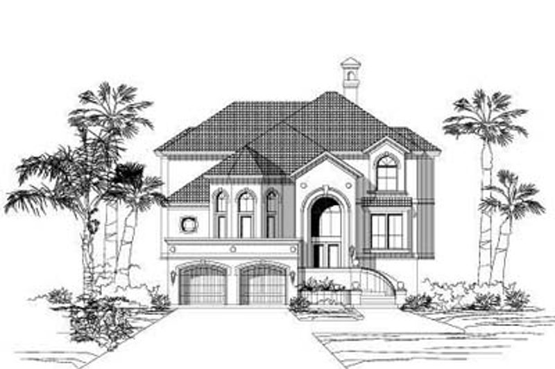 Mediterranean Style House Plan - 3 Beds 3.5 Baths 3739 Sq/Ft Plan #411-158 Exterior - Front Elevation