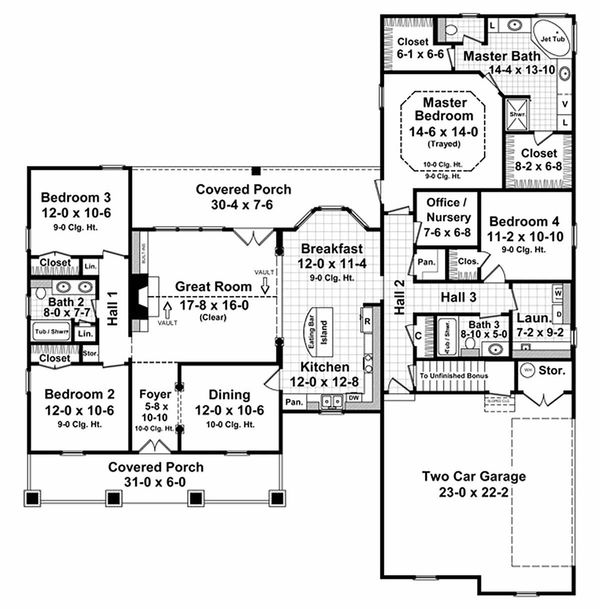 Country style Plan 21-196 main floor