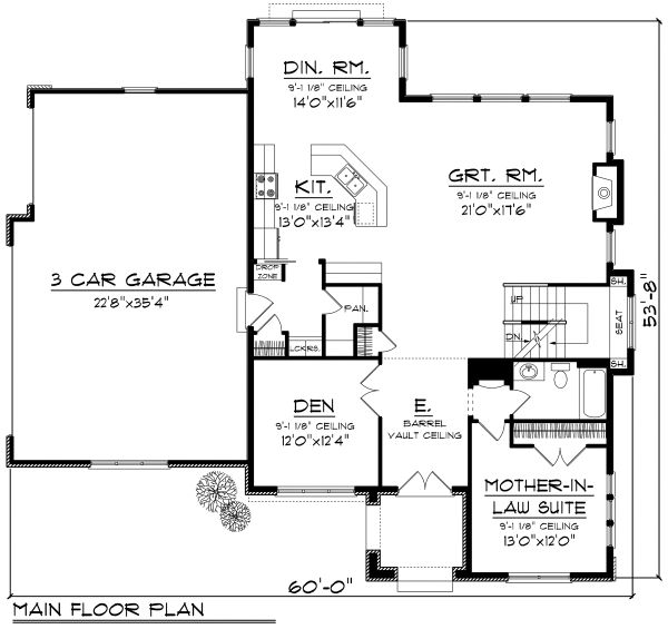 European Floor Plan - Main Floor Plan Plan #70-1181
