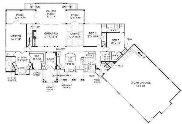 Craftsman Floor Plan - Main Floor Plan Plan #119-366