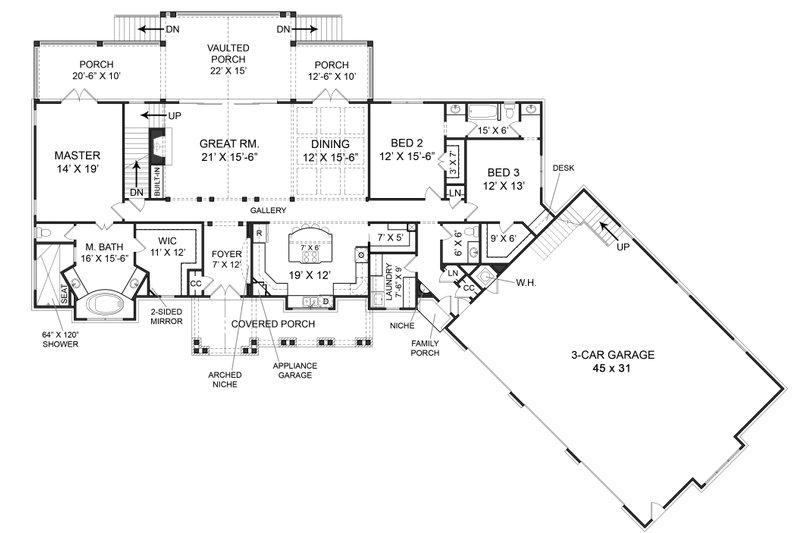 Craftsman Floor Plan - Main Floor Plan Plan #119-366
