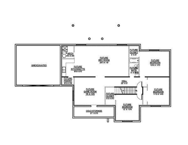 House Blueprint - Country Floor Plan - Lower Floor Plan #1073-19