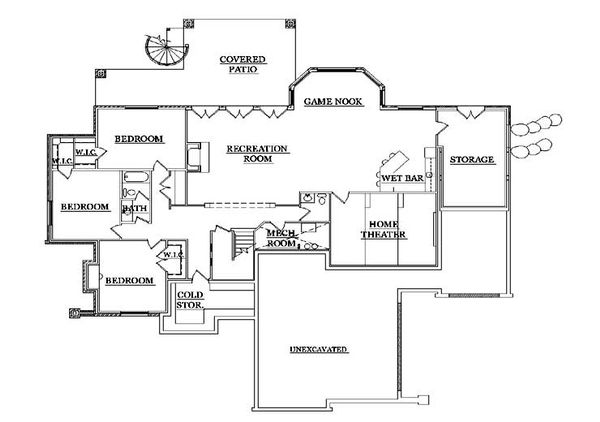 House Plan Design - European Floor Plan - Lower Floor Plan #5-316