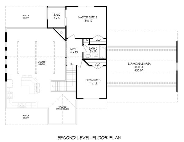 Southern Floor Plan - Upper Floor Plan Plan #932-97
