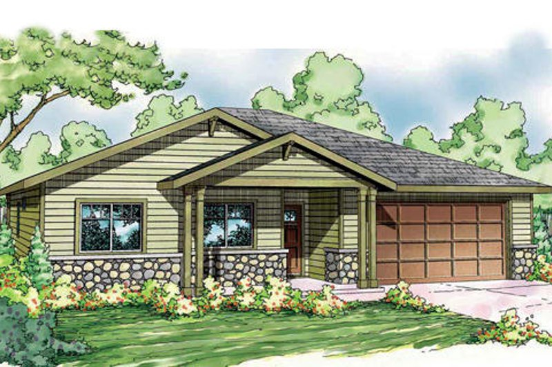 Bungalow Style House Plan - 3 Beds 2 Baths 1501 Sq/Ft Plan #124-839 Exterior - Front Elevation