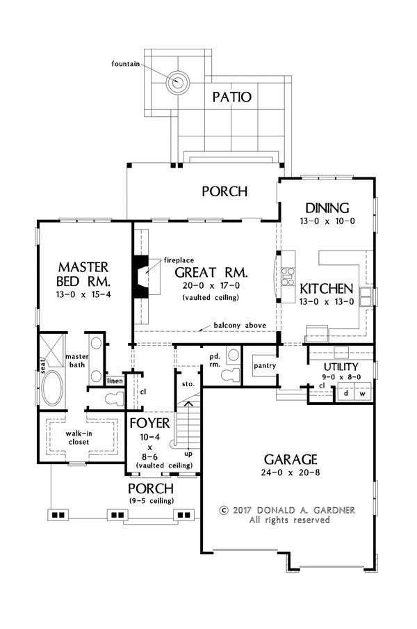 Cottage Floor Plan - Main Floor Plan #929-1066