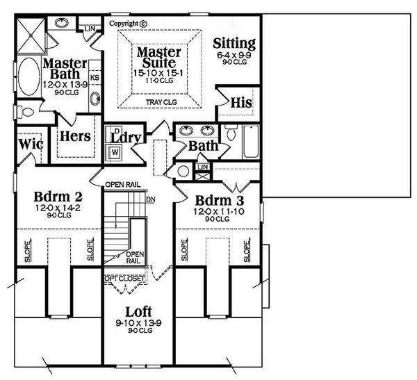 Bungalow Floor Plan - Upper Floor Plan Plan #419-298