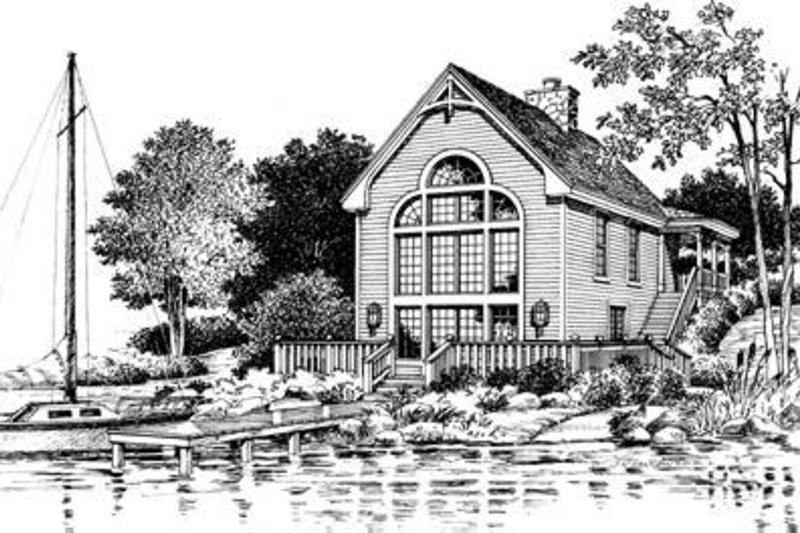 Cottage Exterior - Rear Elevation Plan #57-164 - Houseplans.com