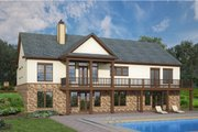European Style House Plan - 3 Beds 2.5 Baths 2764 Sq/Ft Plan #119-428 Exterior - Rear Elevation