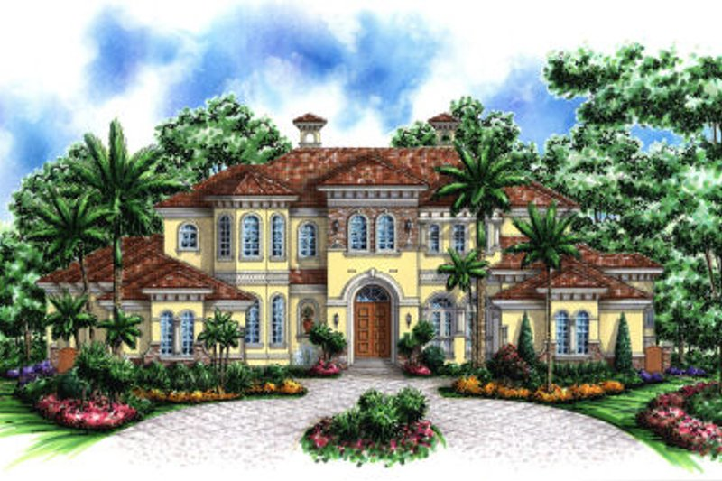 Mediterranean Style House Plan - 7 Beds 6 Baths 7441 Sq/Ft Plan #27-394 Exterior - Front Elevation