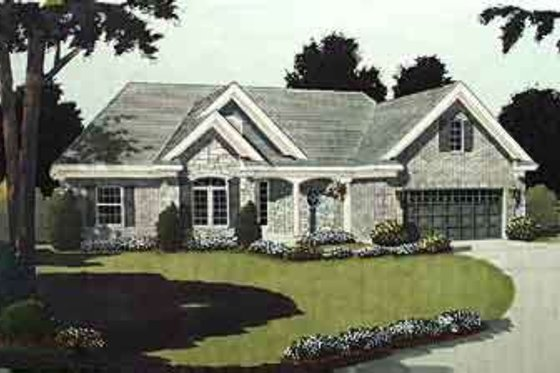 European Exterior - Front Elevation Plan #46-344