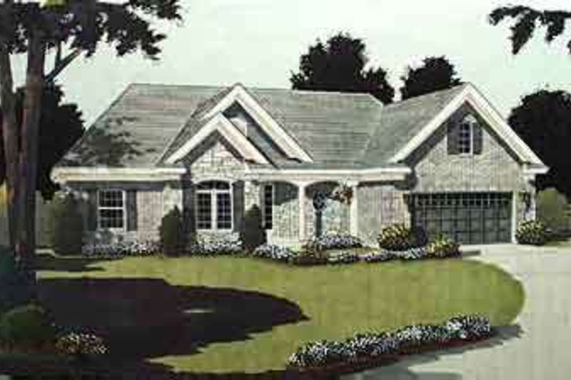 European Style House Plan - 3 Beds 2 Baths 1593 Sq/Ft Plan #46-344 Exterior - Front Elevation