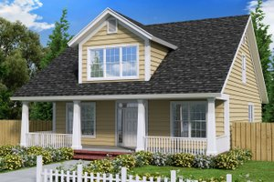 Cottage Exterior - Front Elevation Plan #513-4