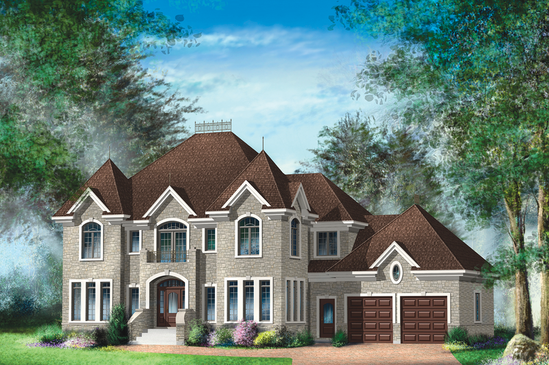 European Style House Plan - 4 Beds 2 Baths 3198 Sq/Ft Plan #25-4628 Exterior - Front Elevation