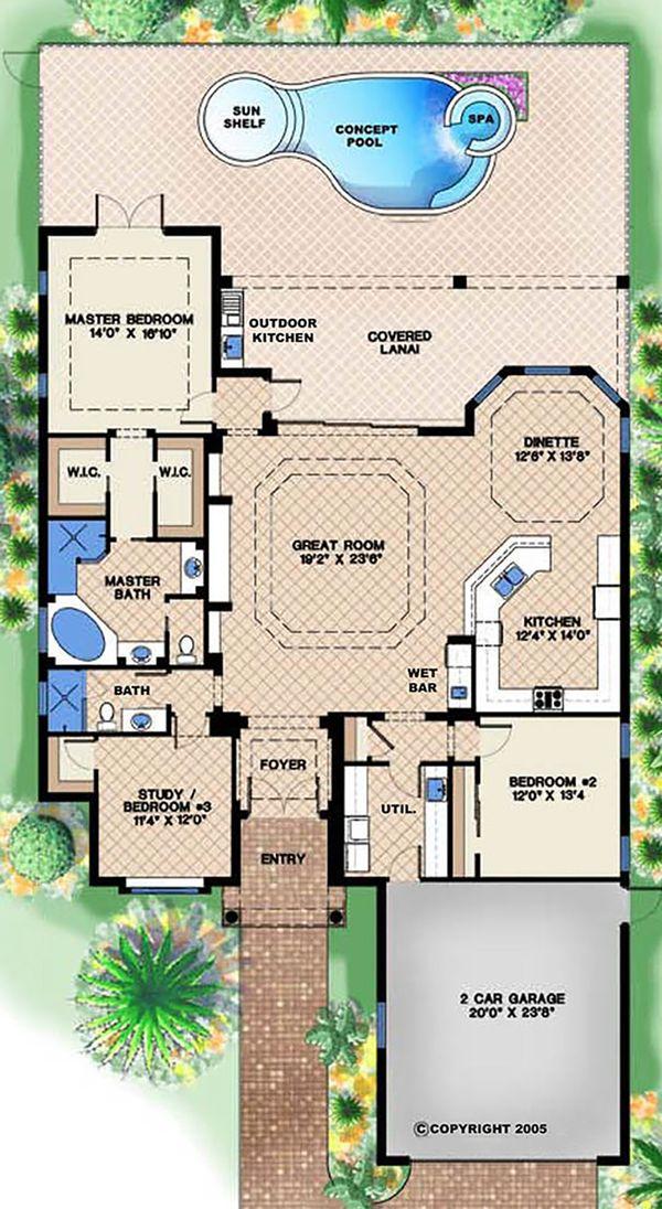 Mediterranean Floor Plan - Main Floor Plan Plan #27-507