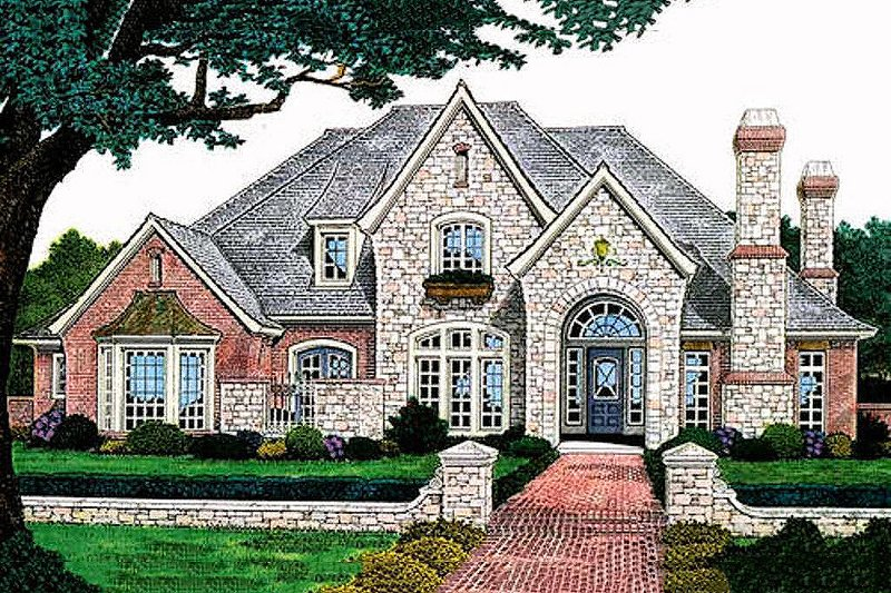 European Style House Plan - 4 Beds 3.5 Baths 3383 Sq/Ft Plan #310-556 Exterior - Front Elevation