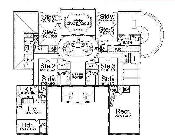 European Floor Plan - Upper Floor Plan Plan #119-178