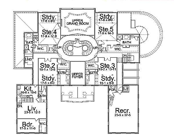 European Floor Plan - Upper Floor Plan Plan #119-178