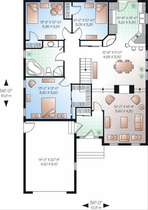 Traditional Floor Plan - Main Floor Plan Plan #23-783