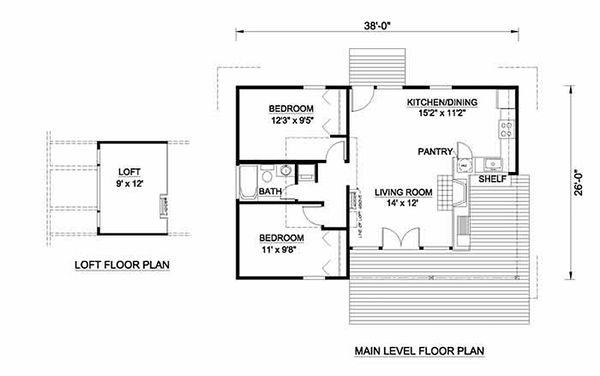 Cabin Floor Plan - Main Floor Plan Plan #116-106
