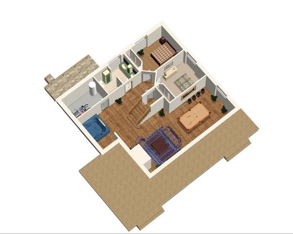 Cabin Floor Plan - Lower Floor Plan Plan #25-4737
